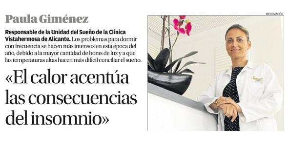 Entrevista la Dra. Paula Giménez en el Diario Información