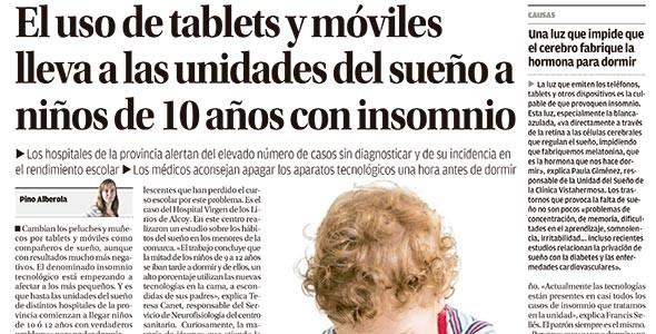 El uso de tablets y móviles lleva a la unidades del sueño a niños de 10 años con insomnio. INFORMACIÓN (7 de diciembre de 2014)